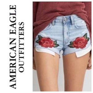 AEO floral embroidered jean shorts